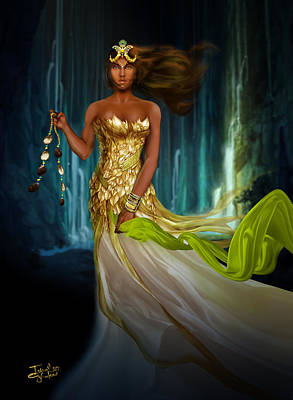Oshun Behind The Falls Print by Ismail Ghafoor