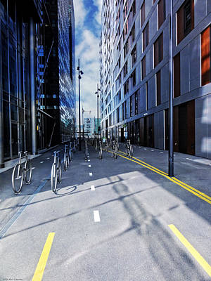 No 3 Photograph - Oslo Architecture No. 3 -bicycles by Mary Machare