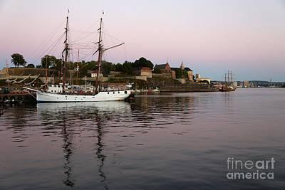 Oslo Harbor At Sunset Print by Carol Groenen