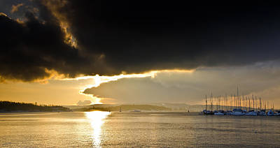 Sailboat Photograph - Oslo Harbor Sunset by Aaron S Bedell