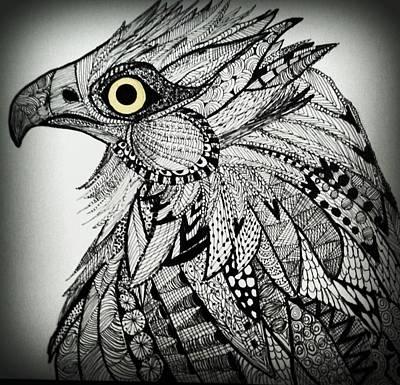 Osprey Drawing - Osprey by B Crawford