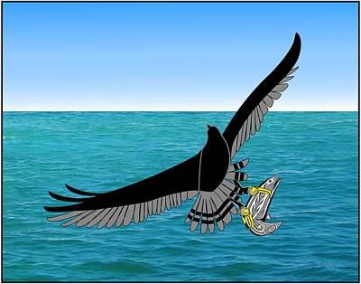 Osprey Drawing - Osprey Over Ocean by Fred Croydon