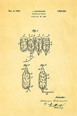 Electrical Engineer Photograph - Ostermeier Photographic Flash Bulb Patent Art 1934 by Ian Monk
