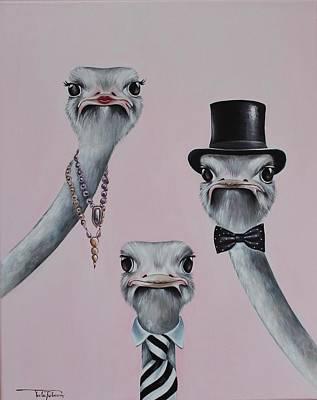 Ostrich Family Original by Rebecca Tecla