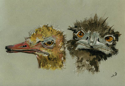 Ostrich Painting - Ostrichs Head Study by Juan  Bosco