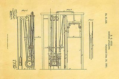 Otis Photograph - Otis Elevator Patent Art 1861  by Ian Monk