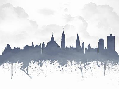 Ottawa Ontario Skyline - Blue 03 Print by Aged Pixel