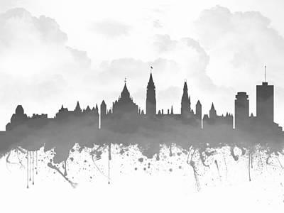Ottawa Ontario Skyline - Gray 03 Print by Aged Pixel