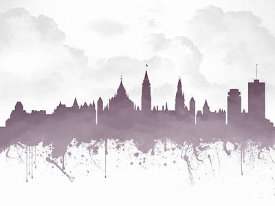 Ottawa Ontario Skyline - Purple 03 Print by Aged Pixel