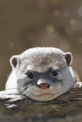 Otter Digital Art - Otter by Arie Van der Wijst