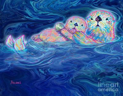 Otter Mixed Media - Otter Family by Teresa Ascone