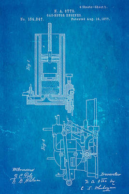 Otto Gas Motor Engine Patent Art 1877 Blueprint Print by Ian Monk