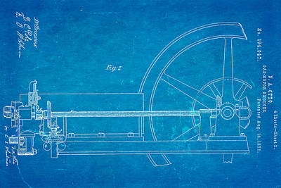 Otto Gas Motor Engine Patent Art 2 1877 Blueprint Print by Ian Monk