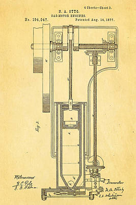 Otto Gas Motor Engine Patent Art 3 1877 Print by Ian Monk