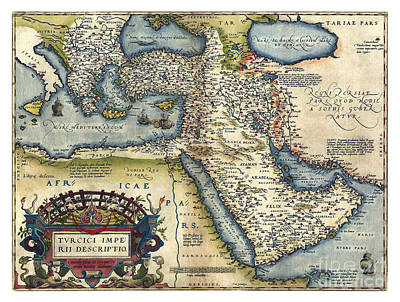 Vintage Map Painting - Ottoman Empire - 1570 by Pablo Romero
