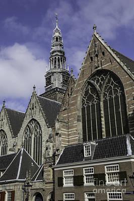 Oude Kerk Rooflines And Tower Amsterdam Print by Teresa Mucha
