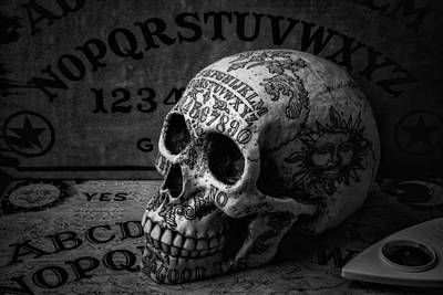 Skull Photograph - Ouija Boards And Skull by Garry Gay