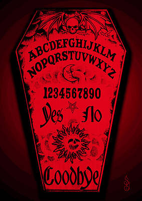 Graveyard Mixed Media - Ouija Coffin by Steve Hartwell