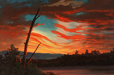 Us Flag Painting - Our Banner In The Sky by War Is Hell Store