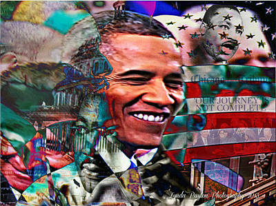 Obama Portrait Mixed Media - Our Journey Is Not Complete by Lynda Payton