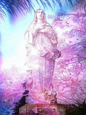 Christian Art . Devotional Art Photograph - Our Lady Of The Flowers by Candee Lucas
