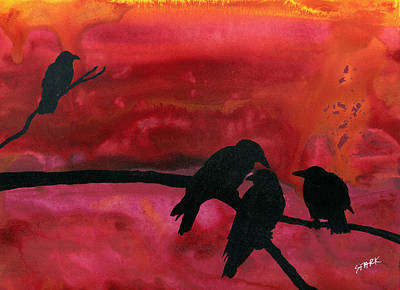 Crow Painting - Our Murder Is Not Yours by Jim Stark