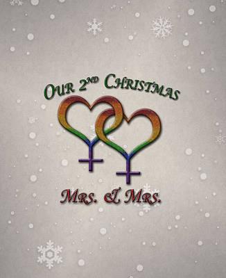 Lesbian Digital Art - Our Second Christmas Lesbian Pride by Tavia Starfire