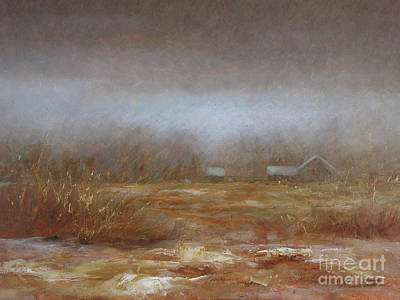 Winter Landscape Painting - Out Back 2003 by Larry Preston