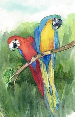 Parrot Painting - Out For Lunch In The Wild by Maria Hunt