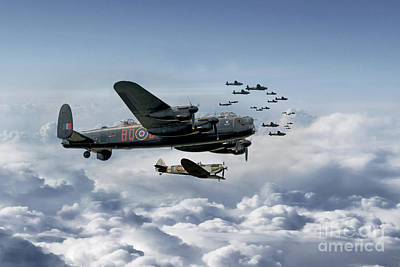 Spitfire Digital Art - Out In Force by J Biggadike