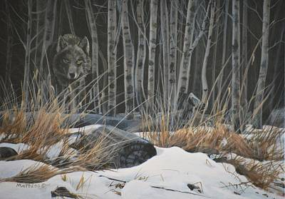Out Of The Shadows - Wolf Print by Peter Mathios