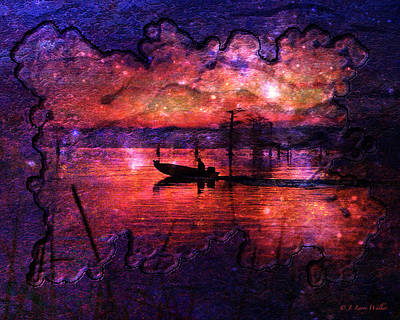 Out Of This World Fishing Hole Print by J Larry Walker