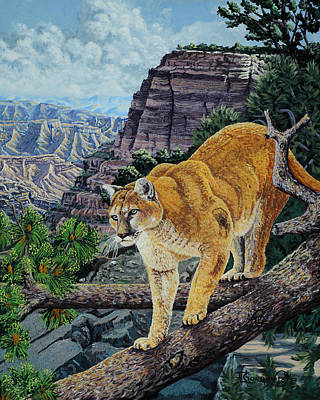 Puma Painting - Out On A Limb by Timithy L Gordon