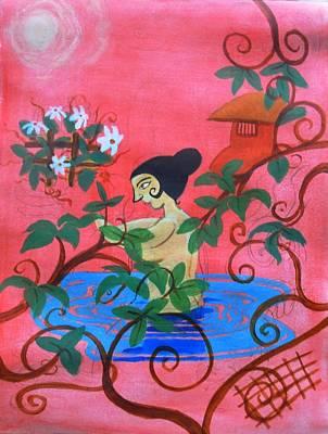 Outdoor Nude Painting - Outdoor Bath by Adhijit Bhakta