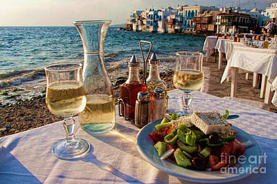 Table Cloth Photograph - Outdoor Cafe In Little Venice In Mykonos Greece by David Smith