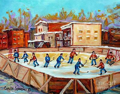 Montreal Winter Scenes Painting - Outdoor Hockey Fun Rink Hockey Game In The City Montreal Memories Paintings Carole Spandau by Carole Spandau