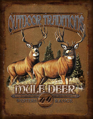 Mule Painting - Outdoor Traditions Mule Deer by JQ Licensing