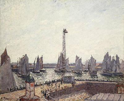 Outer Harbor And Cranes Le Havre Print by Camille Pissarro