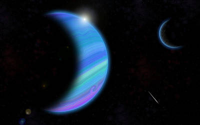 Outer Space Dance Digital Painting Print by Georgeta Blanaru