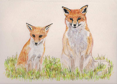 Red Foxes Drawing - Outfoxed by Stephanie Grant
