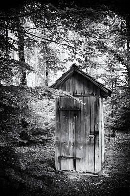 Outhouse In The Forest Black And White Print by Matthias Hauser