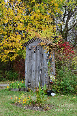 Outhouse Surrounded By Autumn Leaves Print by Paul Ward