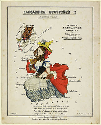 Outline Of Lancashire As Red Riding Hood Print by British Library