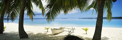 Outrigger Boat On The Beach, Aitutaki Print by Panoramic Images