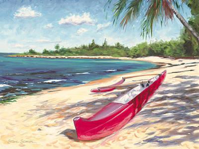 Haleiwa Painting - Outrigger - Haleiwa by Steve Simon