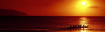 Outrigger Sunset Print by Sean Davey