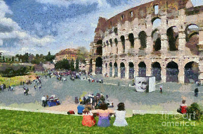 Women Painting - Outside Colosseum In Rome by George Atsametakis