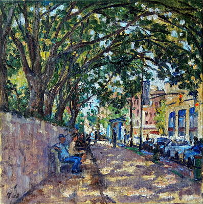 Urban Subway Painting - Outside Isham Park Summertime On Broadway by Thor Wickstrom