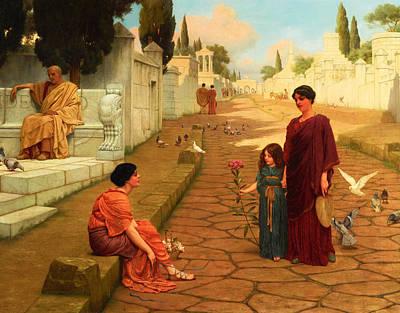 John William Godward Painting - Outside The Gate Of Pompeii by John William Godward