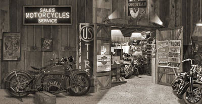 Outside The Old Motorcycle Shop - Spia Print by Mike McGlothlen